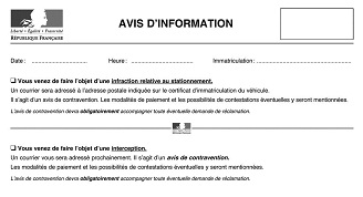 avis d 39 information pour contravention pv lectronique. Black Bedroom Furniture Sets. Home Design Ideas
