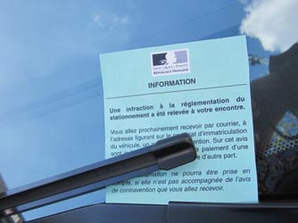 avis d'information de contravention pare brise